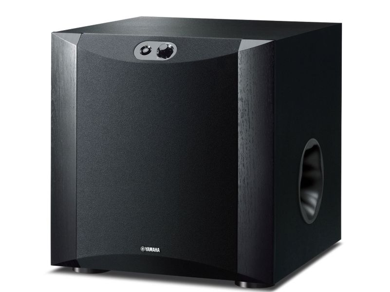 Black Yamaha subwoofer, frontal view